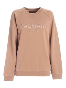 Balmain - Felpa color nude con patch logo
