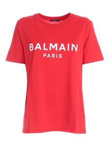 Balmain - Red t-shirt with white flock logo