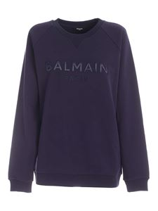 Balmain - Felpa con patch logo color indaco