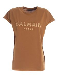 Balmain - Logo patch T-shirt in camel color