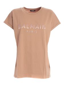 Balmain - Logo patch T-shirt in nude color