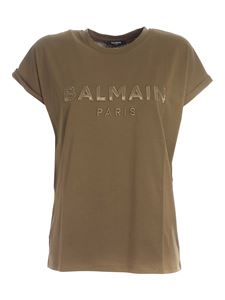 Balmain - Logo patch T-shirt in green