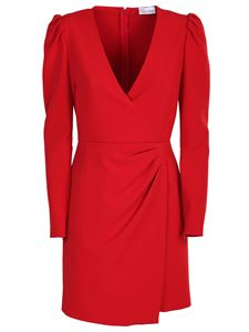Red Valentino - Crossover neckline crepe dress in red