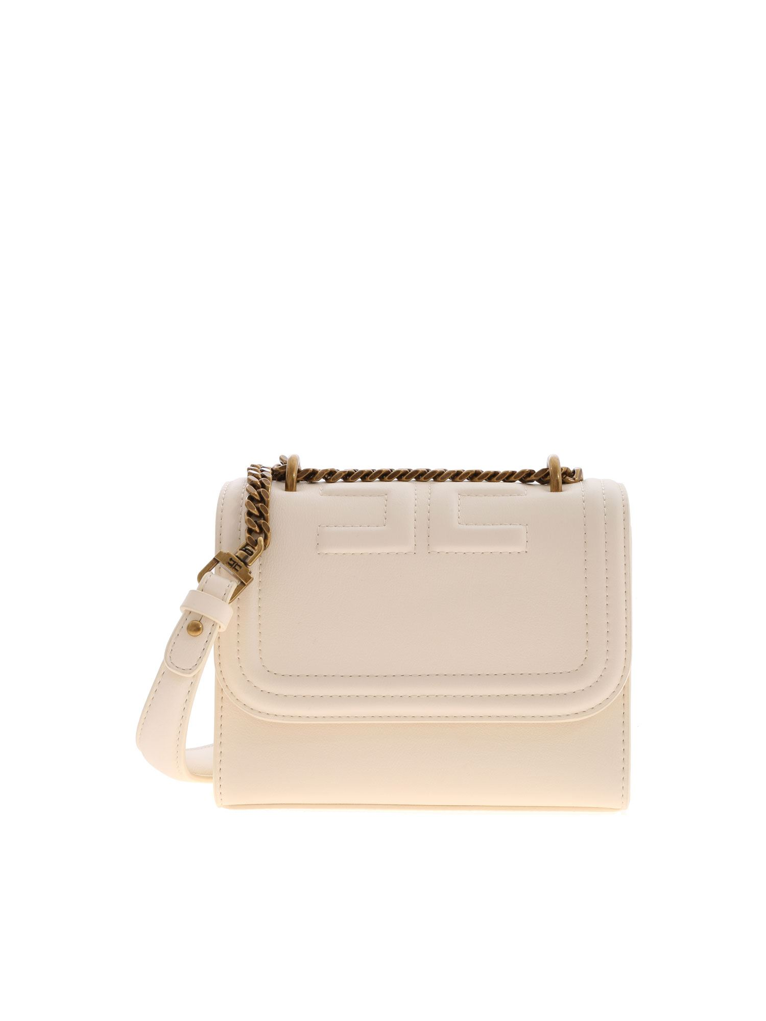 Elisabetta Franchi Leathers LOGO SHOULDER BAG IN IVORY COLOR