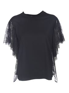 MSGM - Lace sleeves T-shirt in black