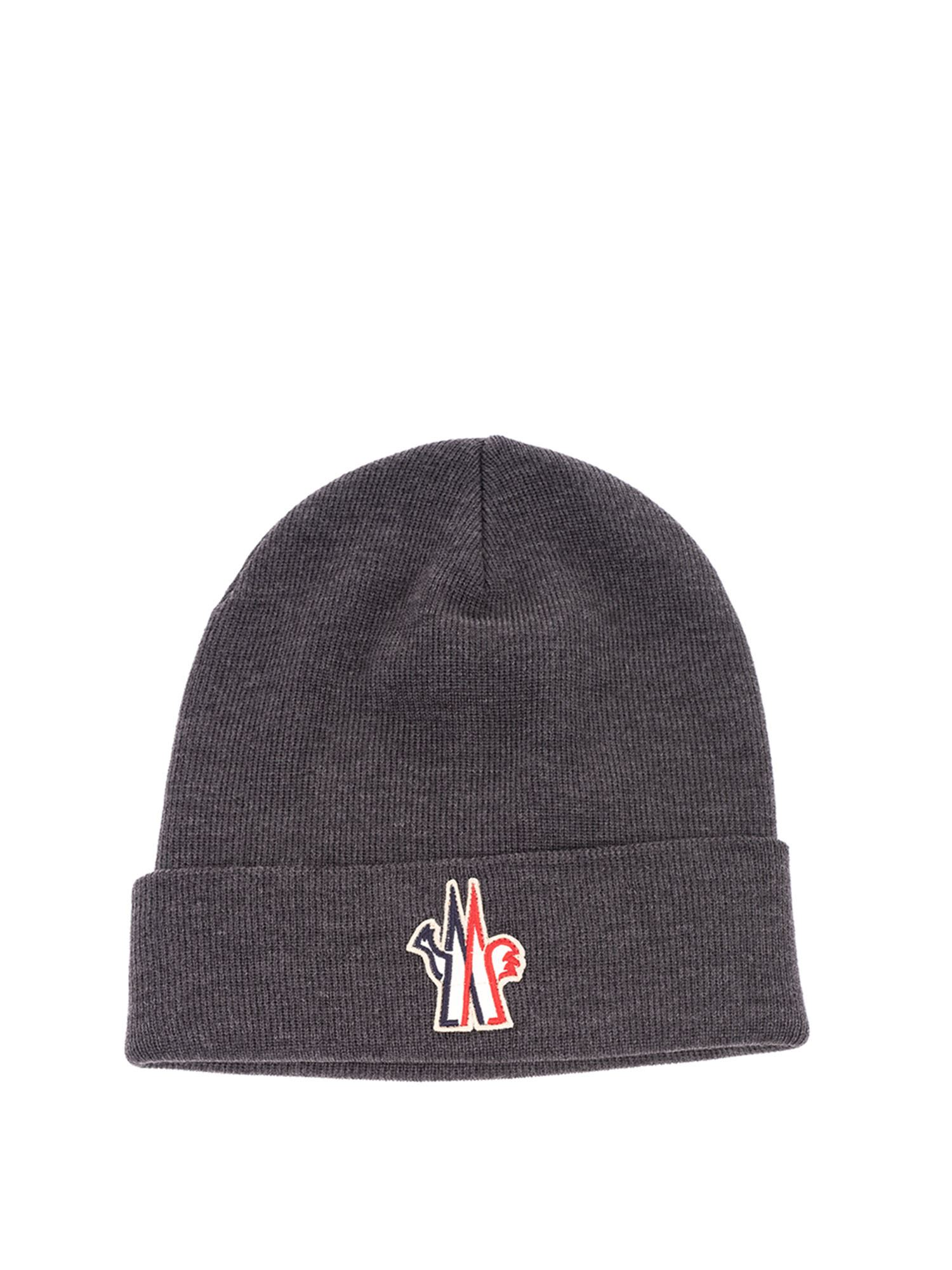 Moncler Grenoble RIBBED BEANIE IN GREY