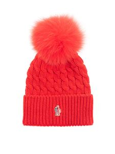 Moncler Grenoble - Pom pom wool beanie in red