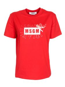 MSGM - Logo print T-shirt in red