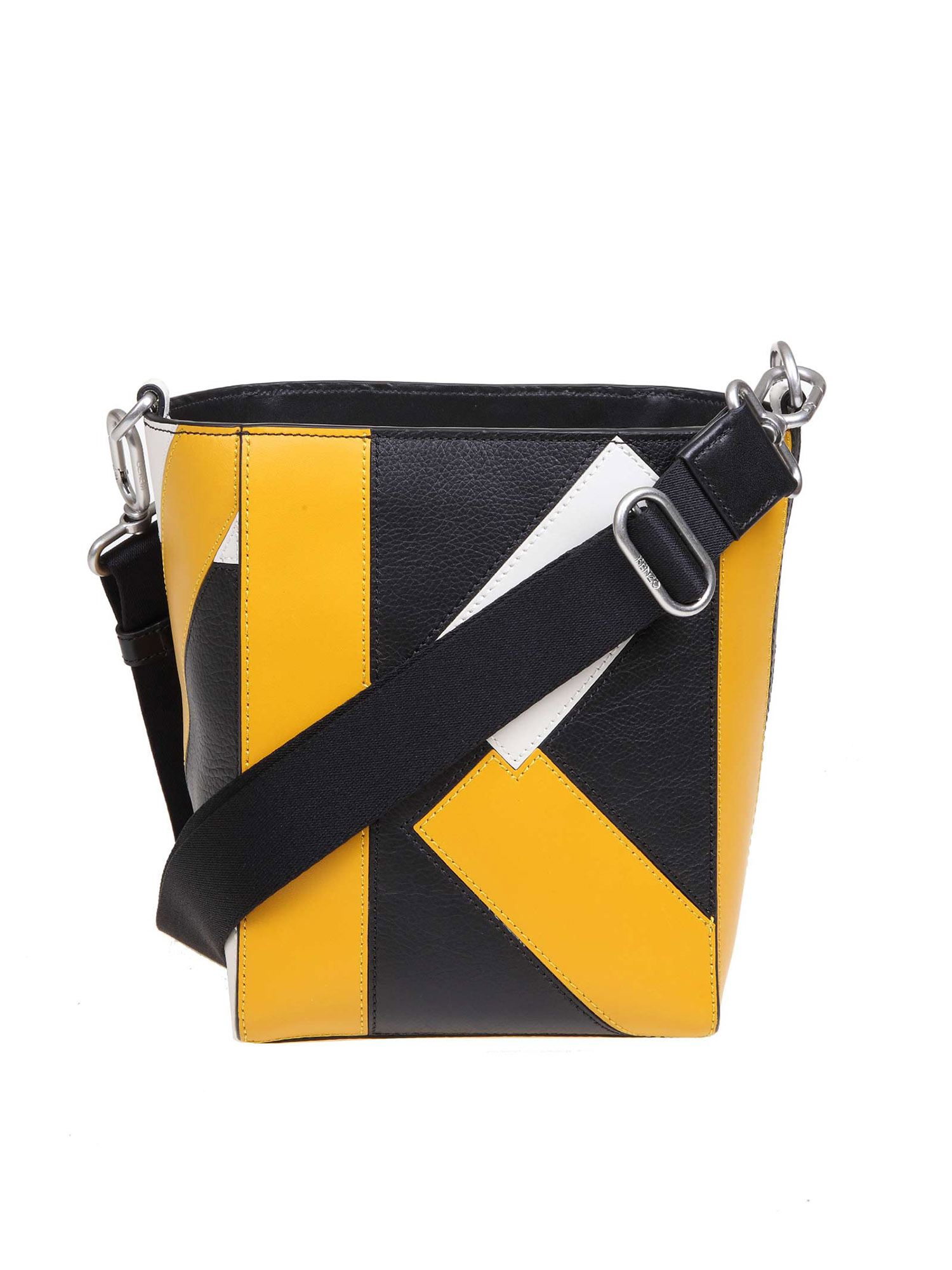 Kenzo KUBE SMALL SHOULDER BAG IN BLACK AND YELLOW