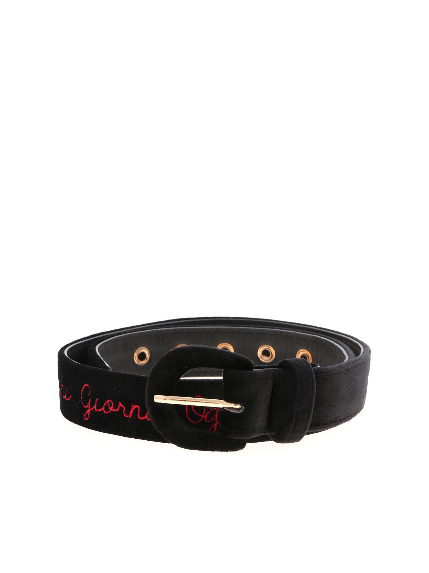 Giada Benincasa LOGO EMBROIDERY VELVET BELT IN BLACK