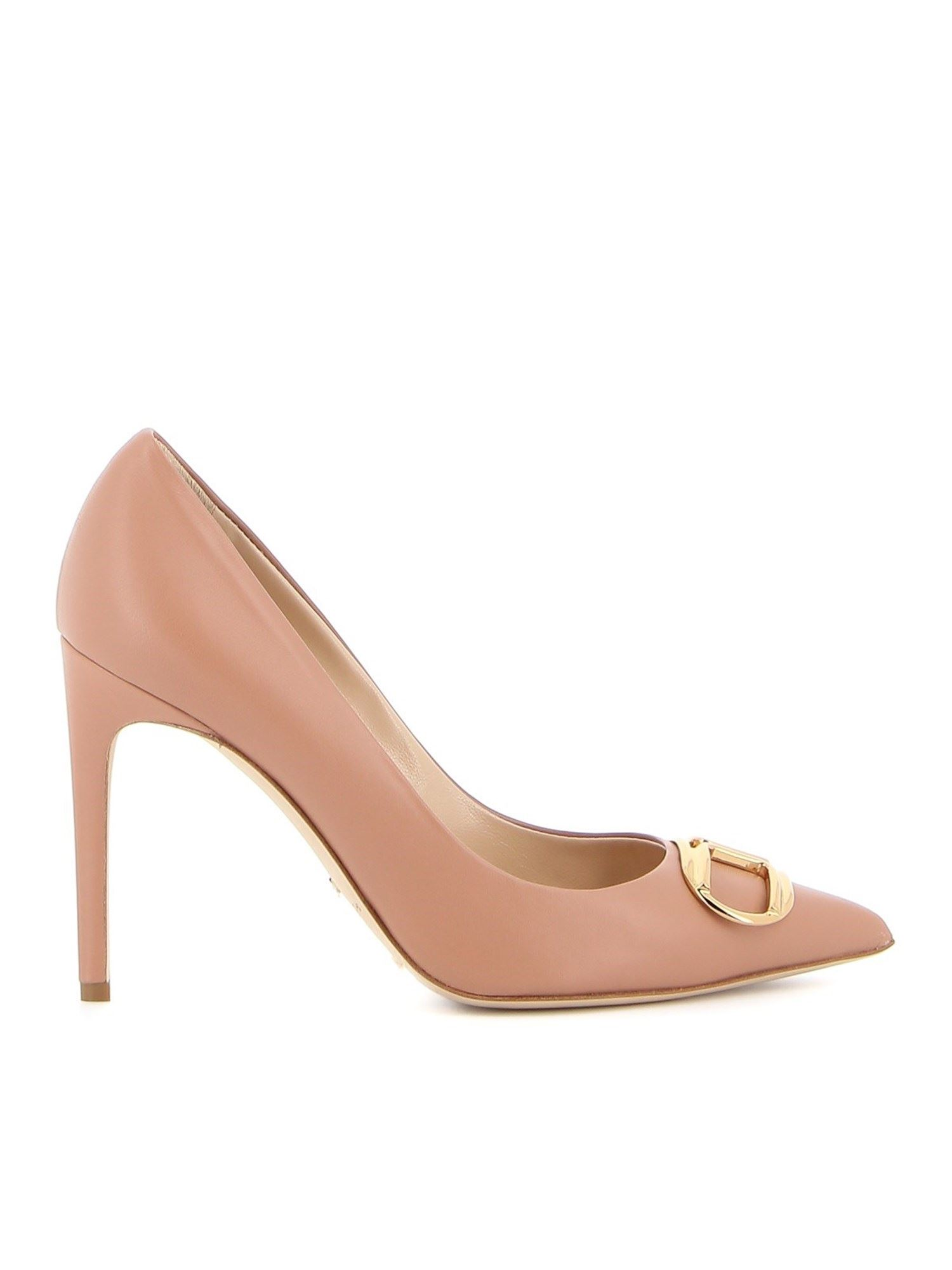 Elisabetta Franchi Leathers LEATHER PUMPS WITH LOGO BUCKLE IN PINK