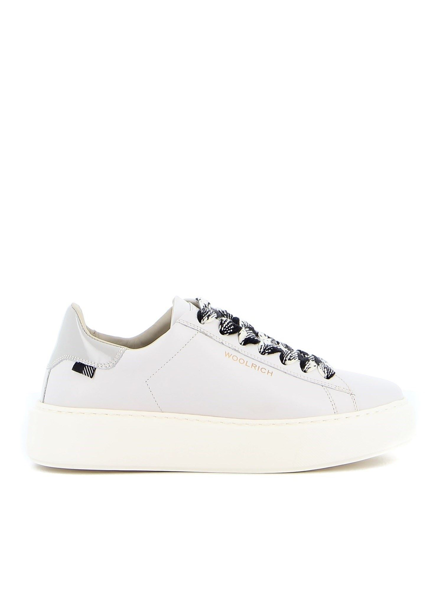 Woolrich Leathers LEATHER SNEAKERS IN WHITE
