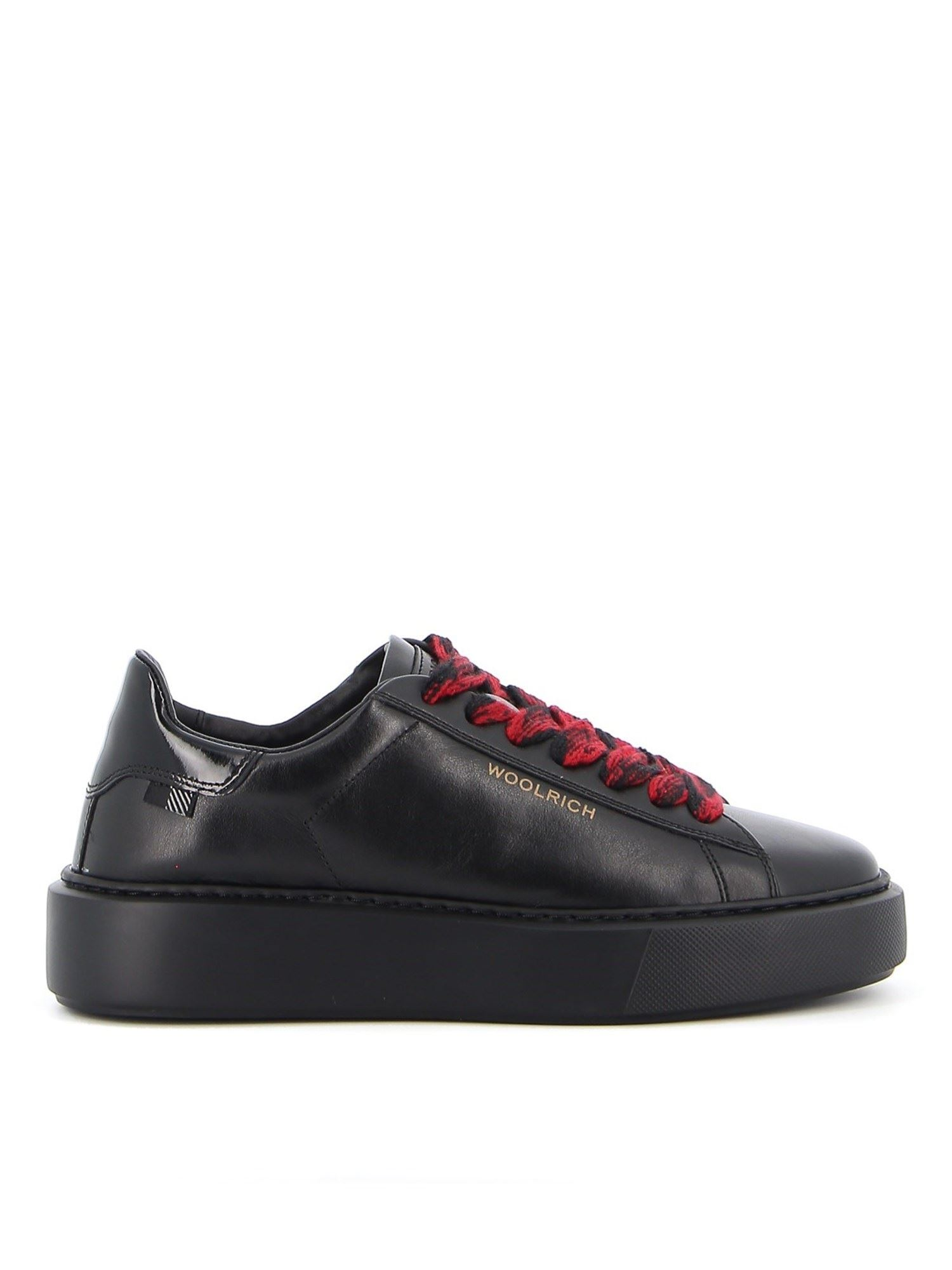 Woolrich Leathers LEATHER SNEAKERS IN BLACK