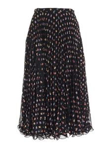 See by Chloé - Floral pattern pleated skirt in black