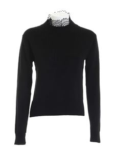 See by Chloé - Lace neckline pullover in black
