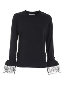 See by Chloé - Lace details T-shirt in black