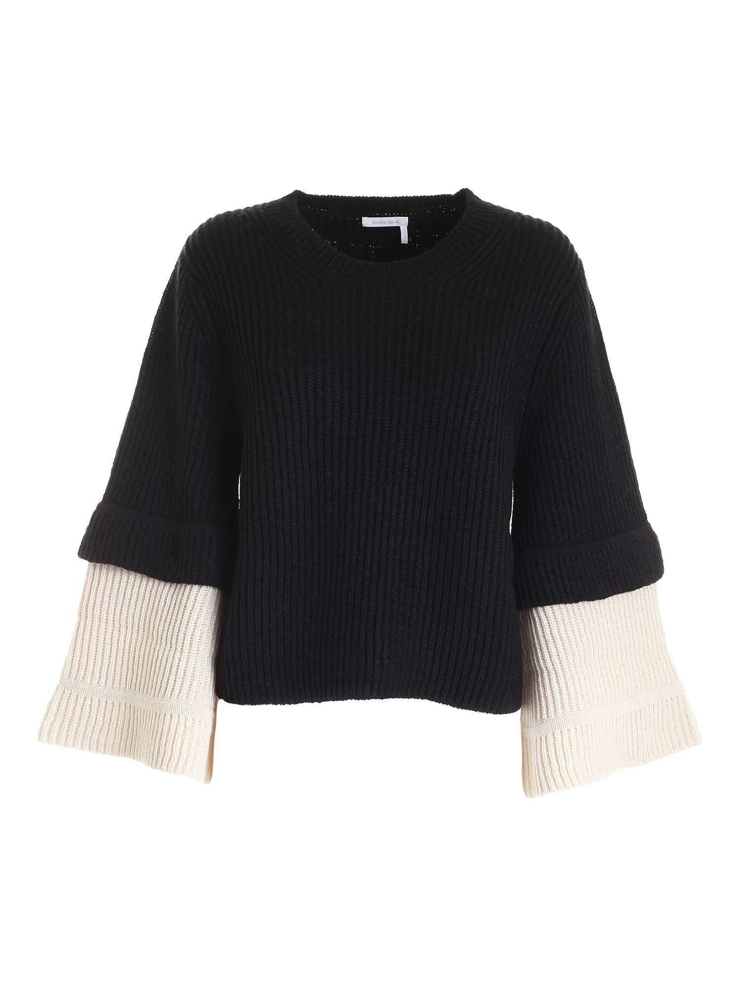 See By Chloé WIDE SLEEVES PULLOVER IN BLACK AND WHITE