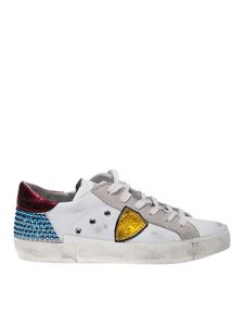 Philippe Model - Prsx sneakers with rhinestones in white