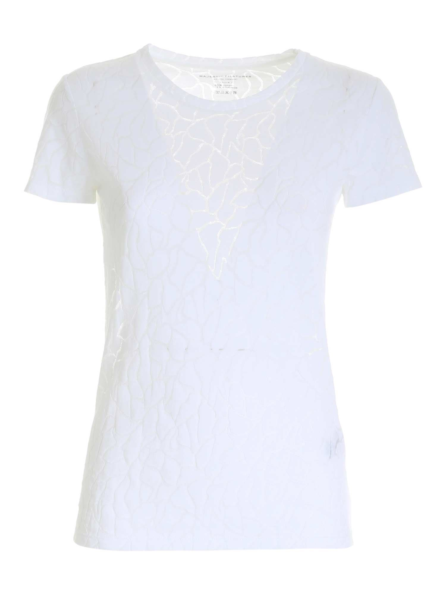Majestic Cottons MAJESTIC FILATURES SEMI-TRANSPARENT T-SHIRT IN WHITE