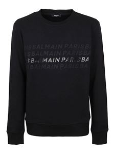 Balmain - Printed logo cotton sweatshirt in black