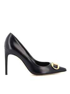 Elisabetta Franchi - Leather pumps with logo buckle in black
