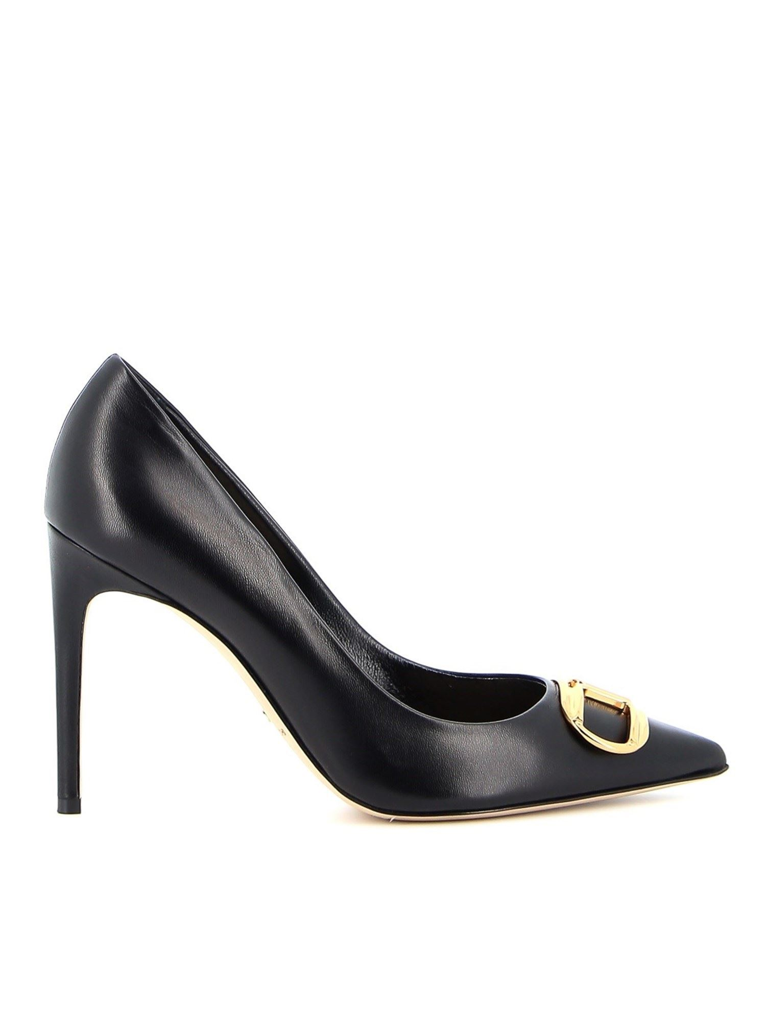 Elisabetta Franchi LEATHER PUMPS WITH LOGO BUCKLE IN BLACK