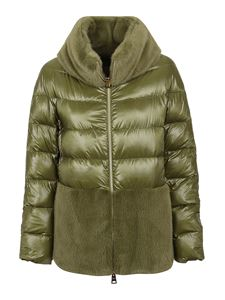 Herno - Faux fur detailed puffer jacket in green