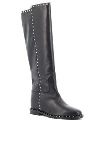 Via Roma 15 - 3404 Malibu leather boots with studs in black