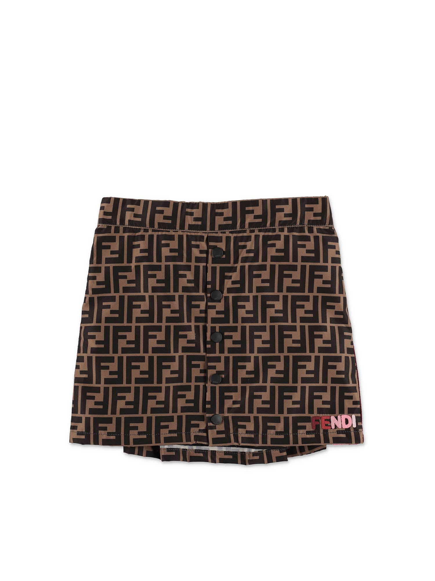 Fendi Jr ZUCCA PRINT SKIRT IN BROWN