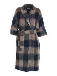Peserico - Checked coat brown green and blue