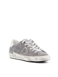 Philippe Model - Paris X laminated leather sneakers in grey