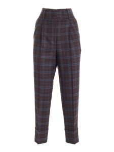 Peserico - Checked pants in brown and blue