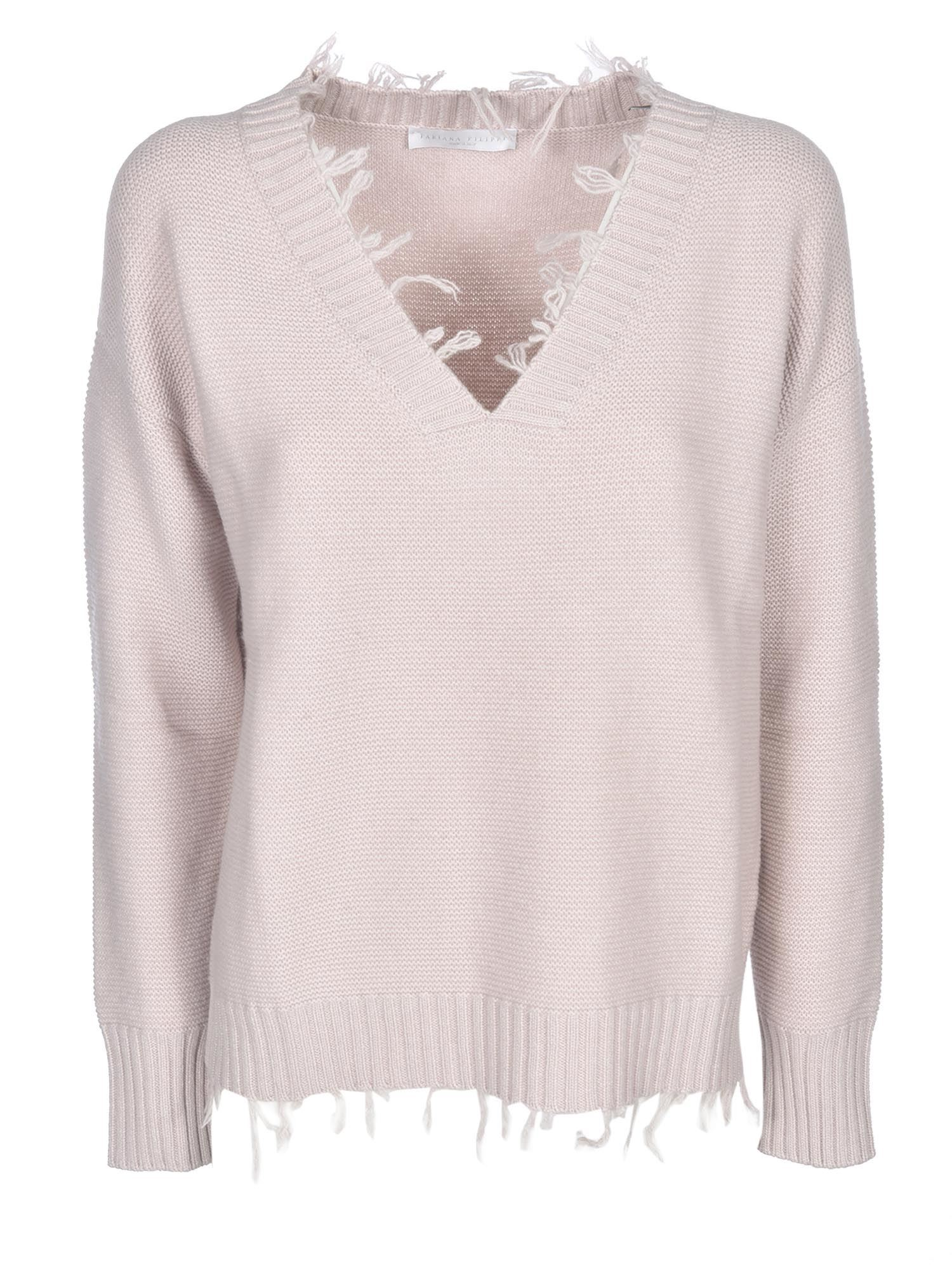 Fabiana Filippi Wool Silk And Cashmere V-neck Sweater In Pink