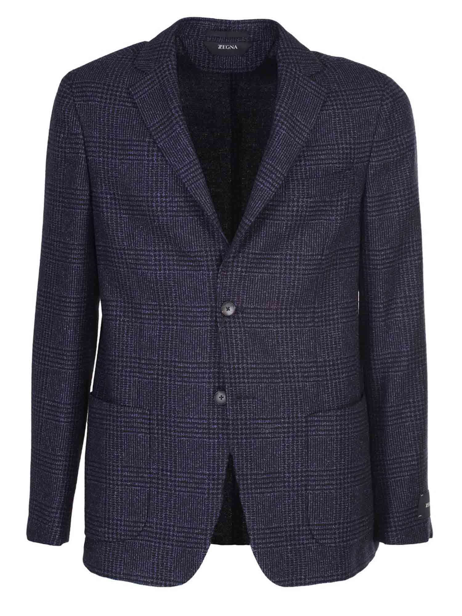 Z Zegna Cottons PRINCE OF WALES JACKET IN BLUE