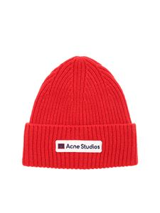 Acne Studios - Logo detail beanie in red