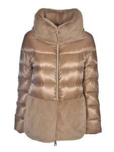 Herno - Down jacket with synthetic fur in camel