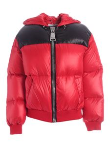 Moschino - Maxi embroidery logo down jacket in red