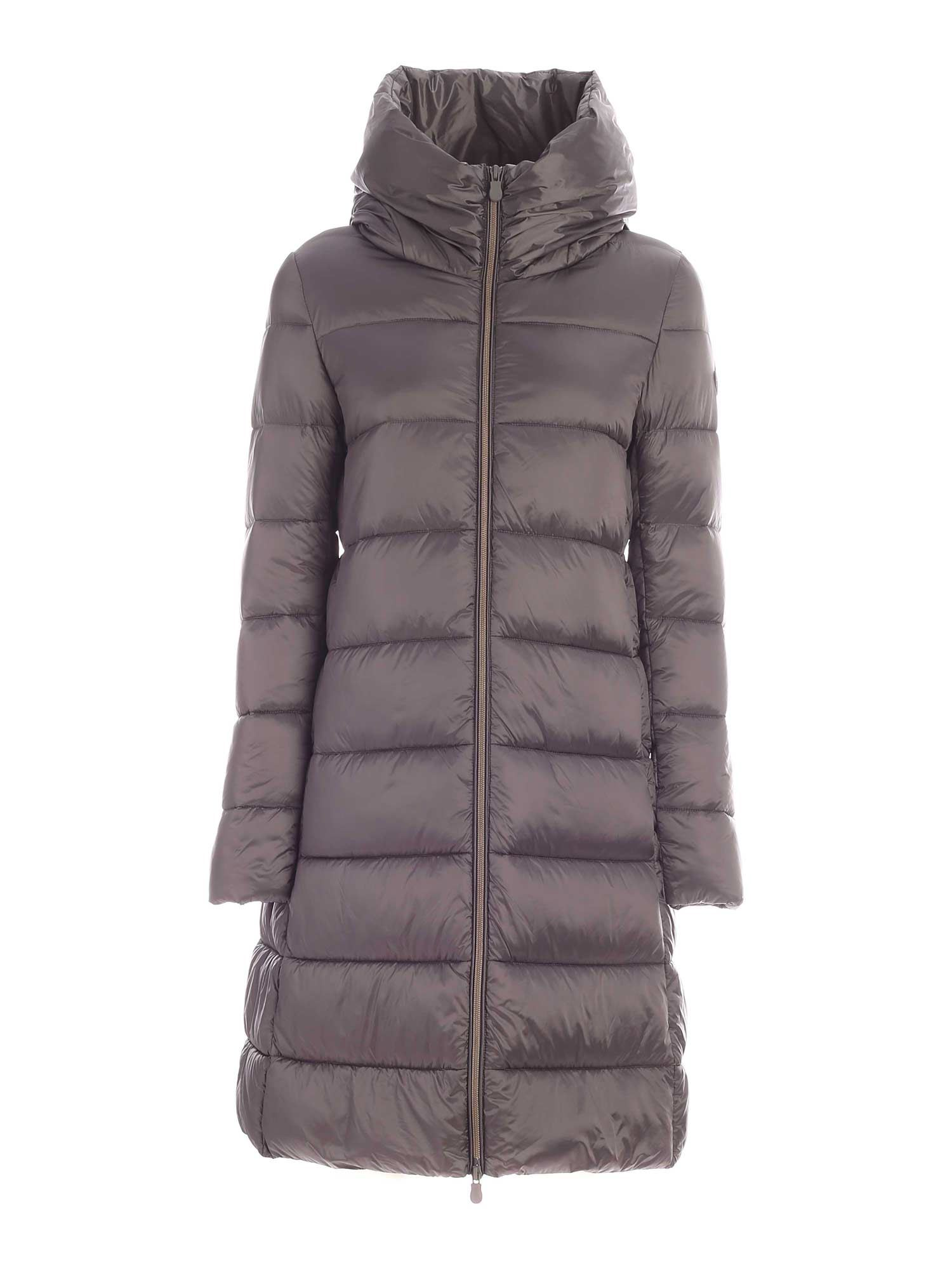 Save The Duck IRISY GREY DOWN JACKET WITH HOOD
