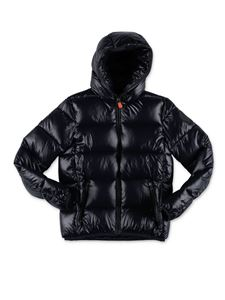 Save the duck - Hooded down jacket in black