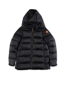 Save the duck - Black down jacket with hood