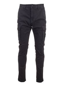 Stone Island - Logo patch pants in blue