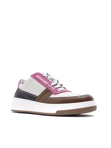 Semicouture - Leather sneakers in ivory and fuchsia