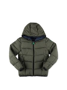 Save the duck - Reversible puffer jacket in green and blue