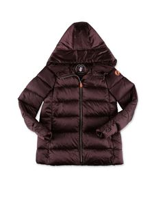 Save the duck - Hooded down jacket in brown