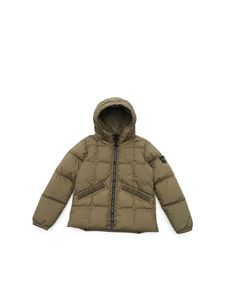 Stone Island Junior - Logo patch down jacket in green