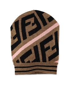 Fendi Jr - FF beanie in brown and pink