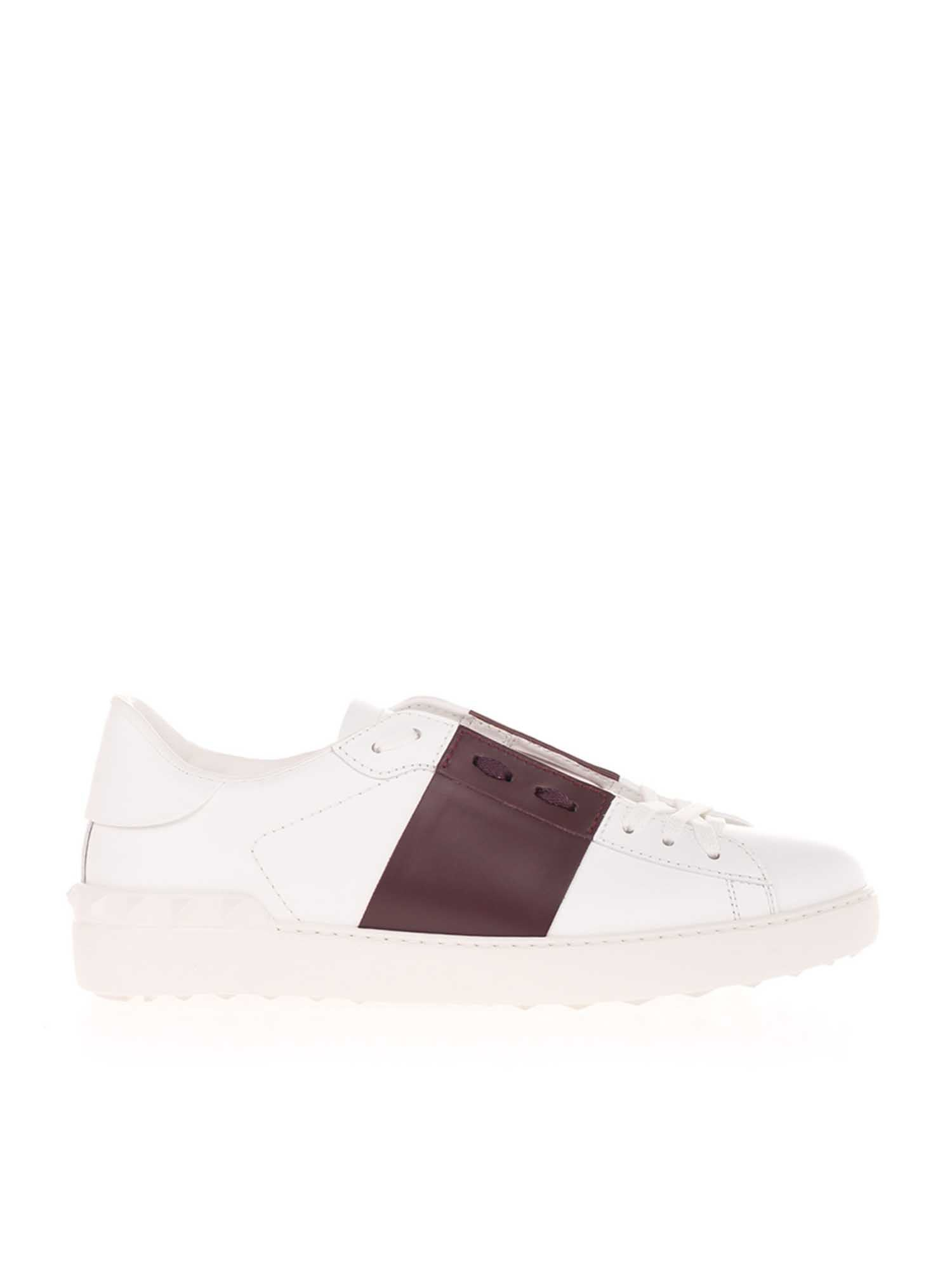 Valentino OPEN SNEAKERS IN WHITE AND BURGUNDY