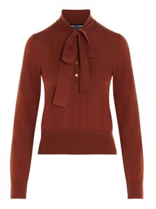Dolce & Gabbana - Pussy bow wool jumper in orange color