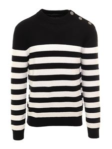 Balmain - Striped wool sweater in balck