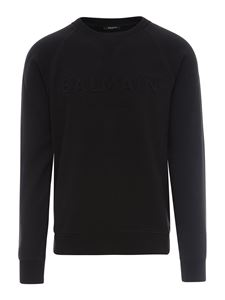 Balmain - 3D logo cotton sweater in black